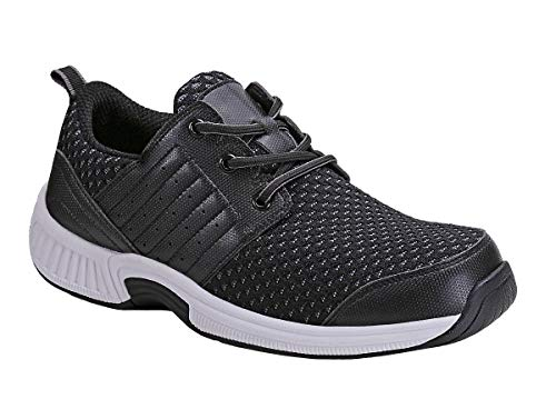 Orthofeet Proven Foot and Heel Pain Relief Extended Widths Best Orthopedic, Plantar Fasciitis, Diabetic Men's Walking Shoes Tacoma Black