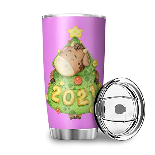 BerightIo Stainless Steel 2021 Christmas Cattle Tumbler Water Bottle Insulated Stain Resistant - Car Cup with Lid White 30oz