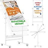 Mobile Whiteboard - 48x24 Large Adjustable Height 360° Reversible...