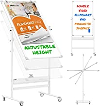 Mobile Whiteboard - 48x24 Large Adjustable Height 360° Reversible Double Sided Dry Erase Board - Magnetic White Board on Wheels - Portable Rolling Easel with Stand, Flip Chart Holders   White