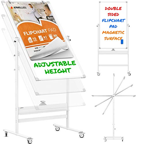 Mobile Whiteboard - 48x24 Large Adjustable Height 360° Reversible Double Sided Dry Erase Board - Magnetic White Board on Wheels - Portable Rolling Easel with Stand, Flip Chart Holders | White
