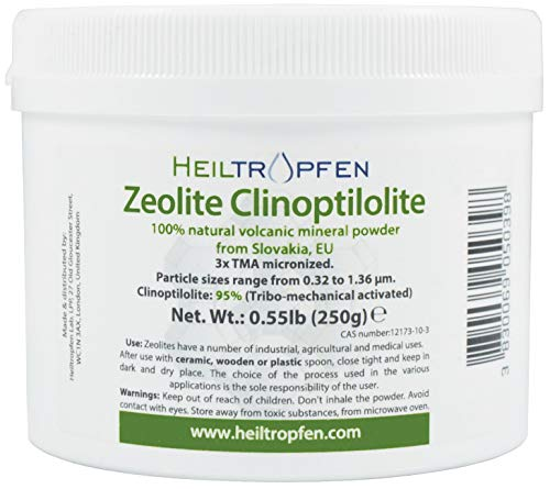 Polvo de zeolita   0,2 kg 250 g   Ultra FINE menos de 2 µm   Clinoptilolite 95%   3X activado   Polvo mineral natural   Heiltropfen®
