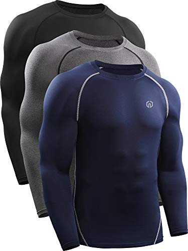 Neleus Men's 3 Pack Workout Compression Long Sleeve Shirts,5035,Black,Grey,Navy Blue,US XL,EU 2XL
