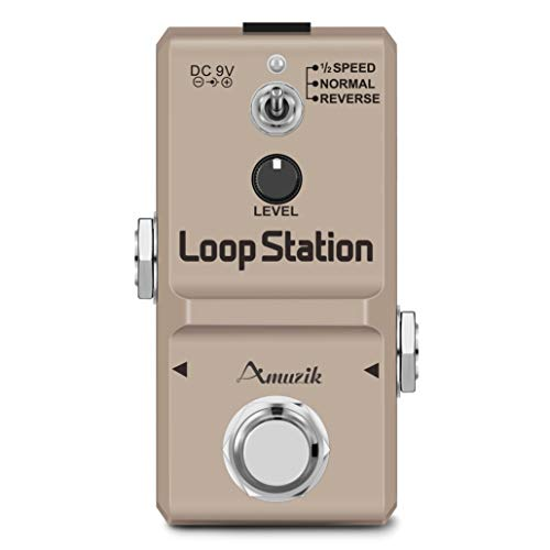 Amuzik Looper Effect Pedal for Electric Guitar loop Station Effects Pedal Unlimited Overdubs 10 Minutes of Looping Time with TF Crad 3 Mode Tiny Size