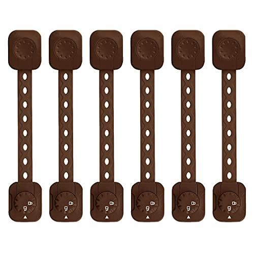 べビーガード、LASOLL 安全ロック 2021新型 引き出しロック チャイルドロック ストラップ 調整可能 ドアロック ストッパー 子供 指はさみ防止 地震対策 工具不要 6本セット ブラウン