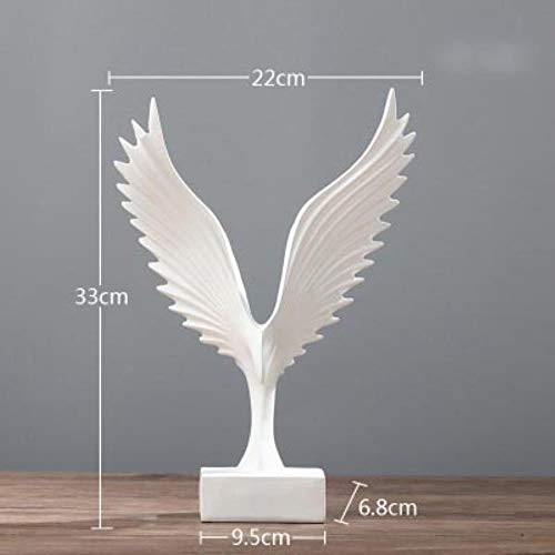 Sgualie Engel Flügel Skulptur Harz Handwerk Heimtextilien, Weiß