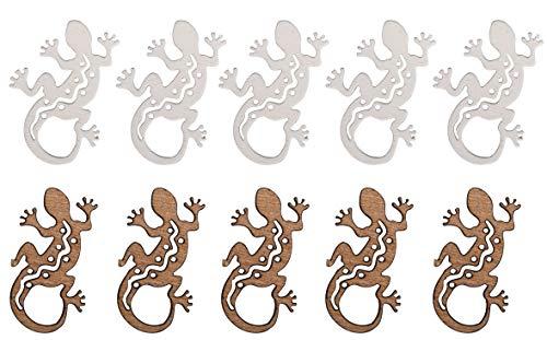 Rayher 46398000 Holz-Streuteile Salamander, 4x3cm, weiß/natur, SB-Btl 10 Stück