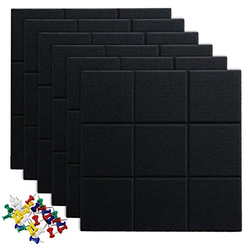 """Uoisaiko Large Felt Board Tiles for Wall with 30 Push Pins, 11.8""""x11.8"""" Pack of 6 Pin Board Notice Boards for Home Office Kitchen, Bulletin Board Wall Tiles for Photos Memos"""