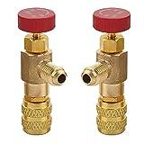 2 Piezas Válvula Seguridad Refrigerante, Aire Acondicionado Carga de la Válvula, Refrigerante R410A R22 Adaptador, Válvula de Control de Refrigerante, para Válvulas de Flujo de Aire Acondicionado