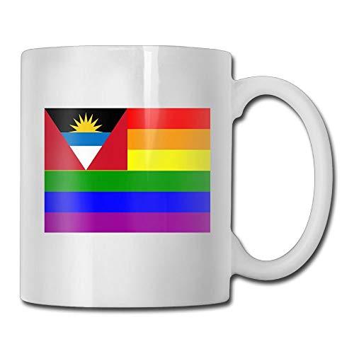 Daawqee Tazas Coffee Mug The Antigua And Barbuda Rainbow Flag Mugs Fashion Ceramic Coffee Tea Cups Double-side Printing 11oz