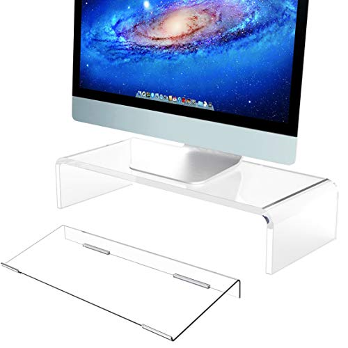Clear Computer Stand & Keyboard Stand, Acrylic Computer Monitor Riser with Sturdy, Hold up to 50lbs Desktop Monitor Stand Heavy Duty Computer Stand Acrylic, Tilted Keyboard Riser for Ergonomic Typing