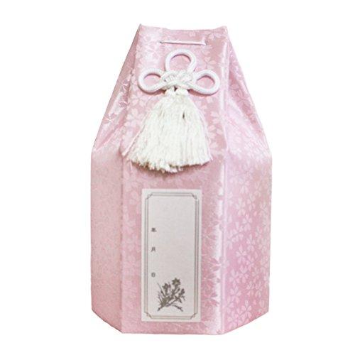 ペット供養 ペット仏具 骨壷 3.5寸 小桜 六角 ピンク 覆い袋のみ 骨壷カバー 分骨 袋 ろうそく 8本入り Cセット