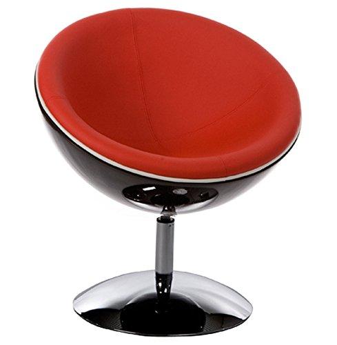 Alterego - Fauteuil design boule 'SPHERA' pivotant 360° noir rouge