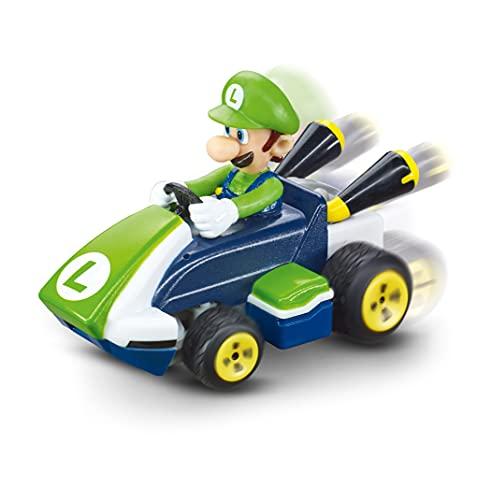Carrera Mini RC Mario Kart mit Luigi I Ferngesteuertes Auto ab 6 Jahren für drinnen & draußen I Mini Mario Kart Auto mit Fernbedienung zum Mitnehmen I Spielzeug für Kinder & Erwachsene