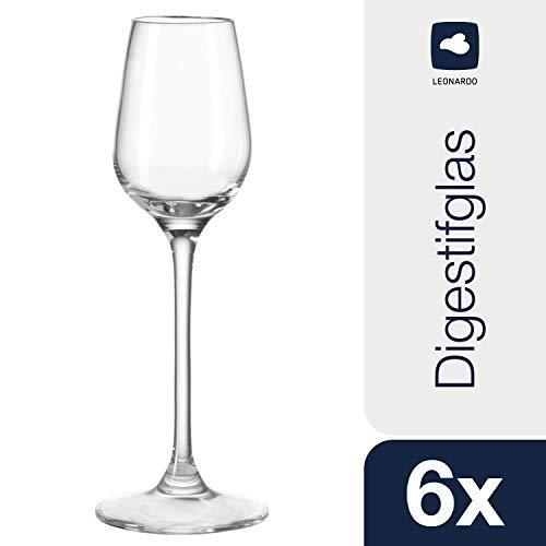 Leonardo Tivoli Digestif-Glas, Schnaps-Glas mit gezogenem Stiel, spülmaschinenfeste Likör-Gläser, 6er Set, 10 cl, 020969