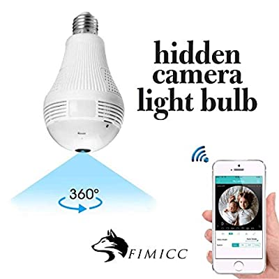 Light Bulb Hidden Camera by fimicc - HD Video Recording - Remote View with Night Vision and Motion Detection - Security Camera for Baby Pets Home Office Monitoring and Protection