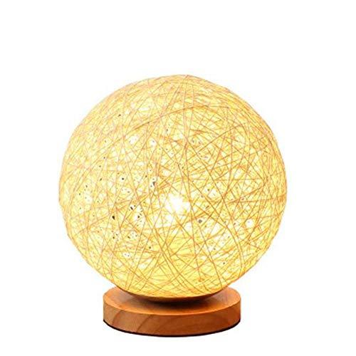 LXYQG Lámpara de Mesa, Moderna a Cuadros de Mimbre Bola esférica de Mimbre lámpara de Mesa lámpara de decoración del hogar lámpara de Noche para niños Ahorro de luz Nocturna LED para Dormitorio