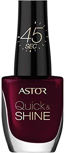 Astor Quick & Shine Nagellack – Schnelltrocknender Nagellack in dunklem Rot für ein glänzendes Finish – Farbe Glass of Wine 302 – 1 x 8 ml