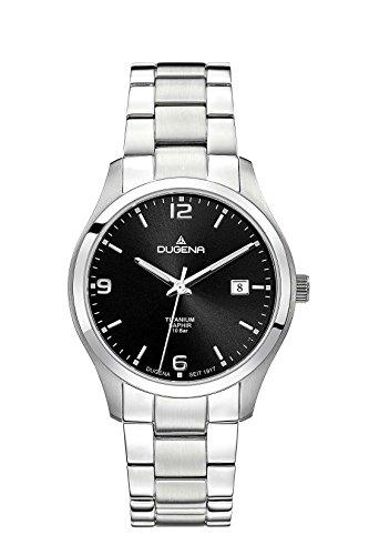 Dugena Herren Titan-Armbanduhr, Saphirglas, Quarzwerk, Tresor, Silber/Schwarz, 4460697