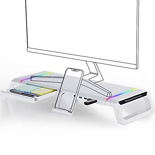 Soporte para monitor Riser plegable, TopMate RGB Computer Monitor Riser USB3.0, Soporte de escritorio con cajón de almacenamiento para pantallas de computadora de 27 pulgadas, Laptop, Impresora-Blanco