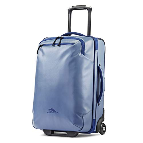 High Sierra Rossby 22-inch Coated Upright Wheeled Luggage Suitcase - Rolling Upright Luggage for Travel - Large Multi-compartment Luggage Suitcase with Wheels, Grey Blue/True Navy