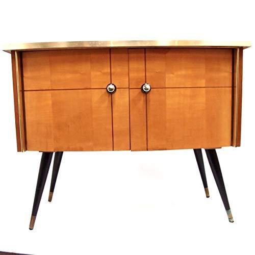 Kommode Holz Vintage halbrund Glas schwarz Beistellschrank Sideboard Barschrank