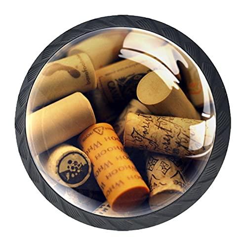 Perillas del gabinete 4pcs Tiradores vidrio cristal,Corchos de vino únicos ,para puerta mueble abierta o cajón