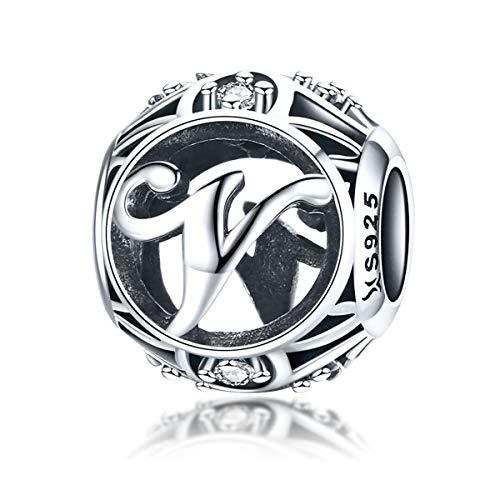 Los encantos de la letra inicial A-Z del alfabeto se ajustan a las pulseras europeas de Pandora, cuentas encantadoras de plata de ley 925 para mujer, letra V