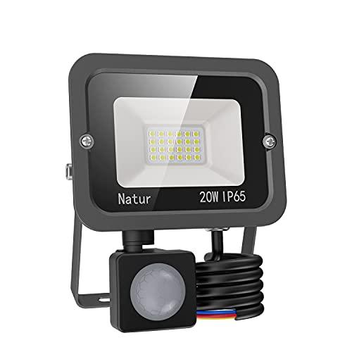 20W Faretto LED da Esterno con Sensore di Movimento, bapro Faro Led Super Luminoso 2000LM, IP65 Impermeabile Proiettore Leds, Bianco Caldo 3000K Faretto Luce Esterna per Parcheggio, Giardino, Cortile