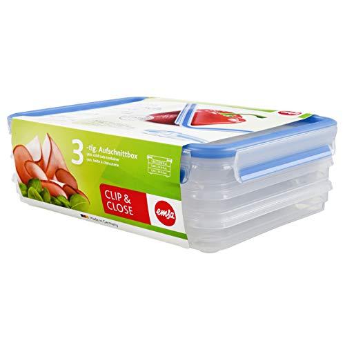 Emsa 508556 Aufschnittbox-System mit Deckel, 1 Liter, Transparent/Blau, Clip & Close
