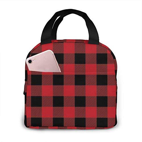 Ahdyr Sac à Lunch Portable Rouge Noir Buffalo Check Motif à Carreaux Sac à Lunch boîte à Lunch isolée Grande Ouverte Sac fourre-Tout à déjeuner