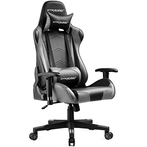 Gtracing Gaming Chair Racing Office Computer Ergonomic Video Game Chair Backrest and Seat Height Adjustable Swivel Recliner with Headrest and Lumbar Pillow Esports Chair (Gray)
