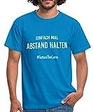 Einfach Mal Abstand Halten #FlattenTheCurve Lustiger Spruch Männer T-Shirt, 3XL, Royalblau