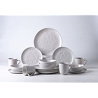Pangu 16-Piece Porcelain Dinnerware Sets, MINIMALISM, Handmade Irregular Shape Look, Service for 4 (16 piece, Grey)