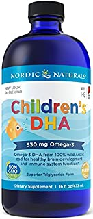 Nordic Naturals Children's DHA, Strawberry - 16 oz - 530 mg Omega-3 with EPA & DHA - Brain Development & Function - Non-GM...