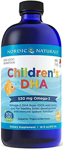 Nordic Naturals Children's DHA Liquid - Omega-3 DHA Fish Oil Supplement for Kids, Supports Heart Health and Brain Development for Children During Critical Years*, Strawberry, 16 oz.