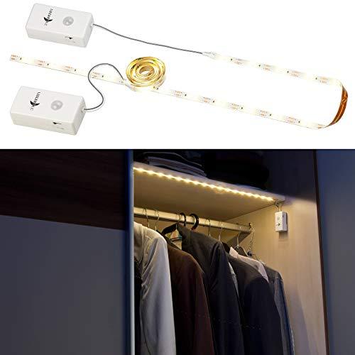 Lunartec Lichtleiste: 2er-Set Indoor-LED-Streifen, 18 LEDs, PIR, Batteriebetrieb, 160lm,60cm (LED Streifen mit Batterie)