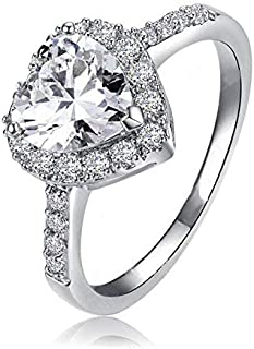 Silver 925 Women Ring with Heart Diamond and Rhinestone Stones