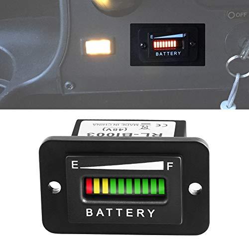 48V Battery Fuel Gauge Indicator, LED Battery Indicator Meter Gauge for Golf Cart,Fork Lifts, Floor Care Equipment, EZGO, Yamaha, Club Car