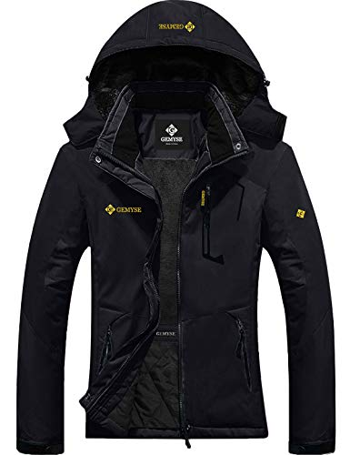GEMYSE Women's Mountain Waterproof Ski Snow Jacket Winter Windproof Rain Jacket (Black, M)