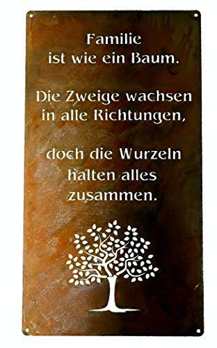 Rostikal | Rost Gartenschild Familie zum hängen | Deko Spruchtafel Schild in Edelrost | 30 x 15 cm