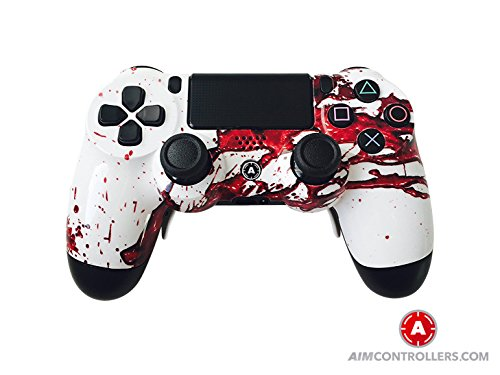 PS4 Slim Wireless Controller for Playstation 4 - Custom AimController Dexter Design with 4 Paddles. Upper Left Square, Lower Left X, Upper Right Triangle, Lower Right O