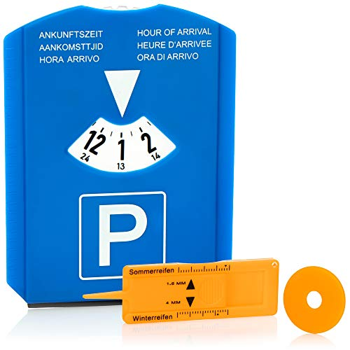 com-four® 1x Parkscheibe mit Eiskratzer, Gummilippe, Einkaufswagenchip und Reifenprofilmesser - Parkuhr aus Kunststoff (01 Stück - Parkscheibe mit Chip+Profilmesser)