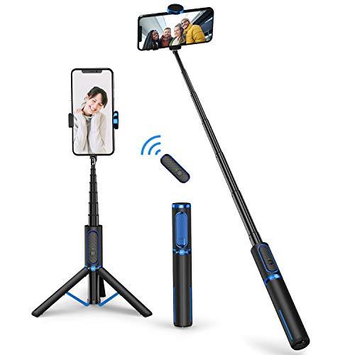 ATUMTEK Bluetooth Selfie Stick Stativ, Erweiterbar 3 in 1 Selfie Stange aus Aluminium mit Kabelloser Fernbedienung um 360° Drehbar für iPhone 12/11 Pro/XS Max/XS/XR/X/8/7, Samsung Smartphones
