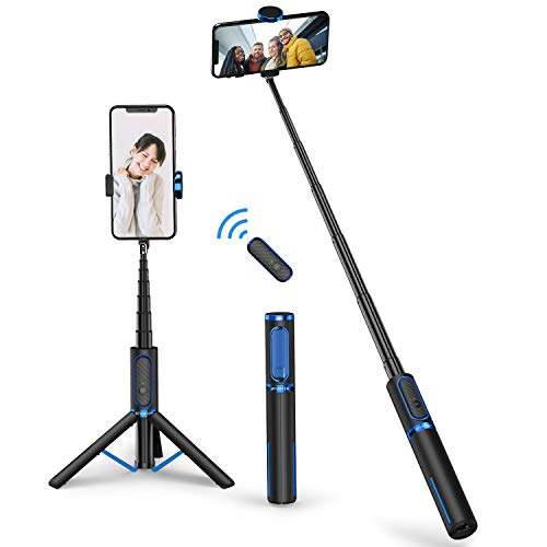 ATUMTEK Bluetooth Selfie Stick Tripod, Mini Extendable 3 in 1 Aluminum Selfie Stick with Wireless Remote and Tripod Stand 360° Rotation for iPhone 12/11 Pro/XS Max/XS/XR/X/8/7, Samsung and Smartphone
