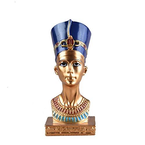 Wakauto 1 Piezas Greative Egipcio Reina Cabeza Estatua Resina Artesanía Estatuilla Hogar Escultura Decorativa para Sala de Estar Decoración del Hogar