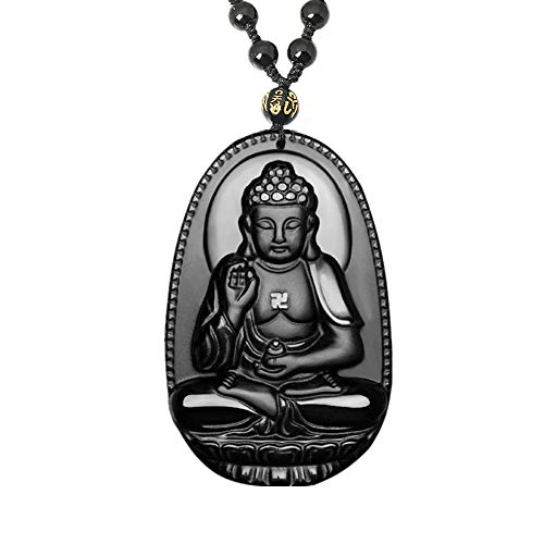 Black Obsidian Buddha Necklace, Healing Crystal Bodhisattva Pendant with Adjustable Bead Chain, Health Success Amulet Jewelry Gift for Men Women