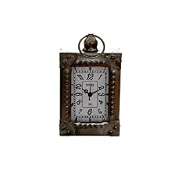 Sukima Decor Vintage Clock Desktop, Metal, Silver, 12 x 5 x 21 cm