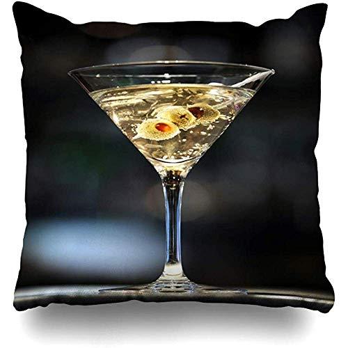 Taie d'oreiller Cocktail Vodka Martini on Bar Trois Olives Boisson Alimentaire Alcool Secoué Lien Alcoolique Design Durable Couvre-Coussin Carré Personnalisé Doux Étuis Zippés Imp