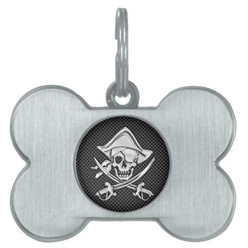 rfy9u7 Médaille d'identification personnalisée pour chiens et chats, motif pirate argenté sur fibre de carbone noire, idée cadeau pour animal domestique – Acier inoxydable